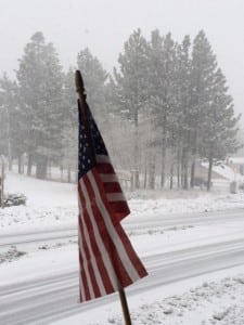 Flag, snow, accumulations, winter, wet, heavy